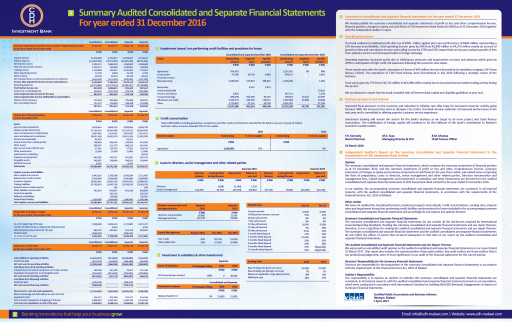Summary of audited consolidated and separate financial statements for the year ended 31 December 2016
